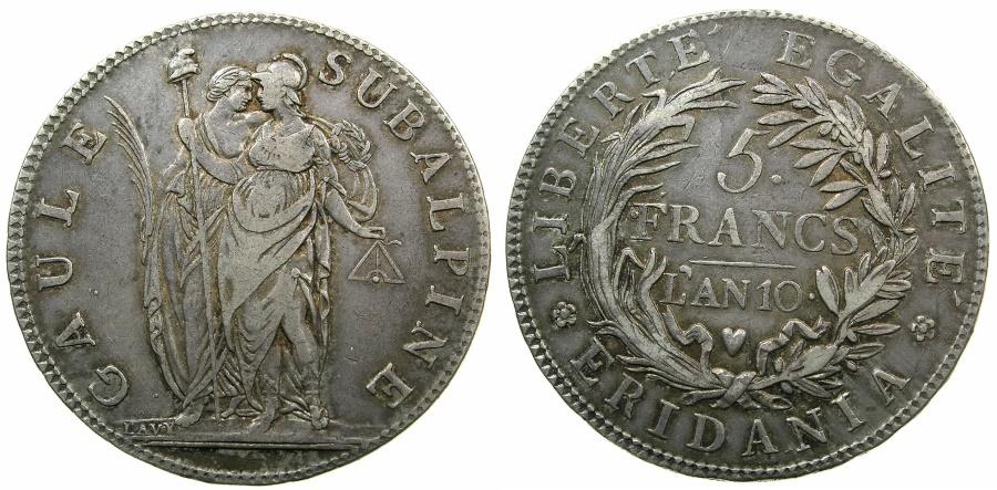 World Coins - ITALY.SUB-ALPINE Republic 1800-1802.AR.5 Franchi L'AN 10 ( 1802 ).