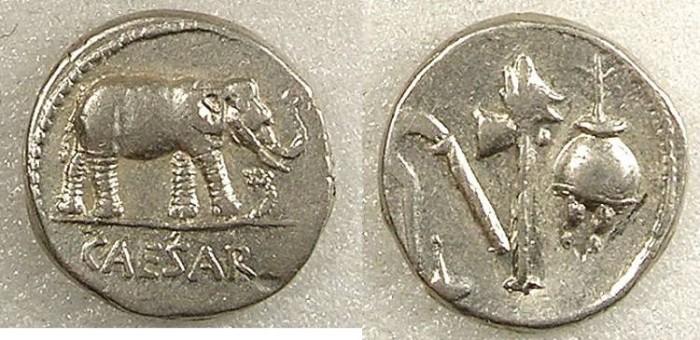 Ancient Coins - ROME Republic Julius Caesar 49-44BC AR Denarius Elephant