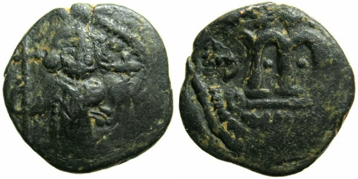 "Ancient Coins - ARAB-BYZANTINE.Anonymous 7th Cent.AD.AE.Falus.""al-wafa lillah""mint.~#~Obscure countermark."