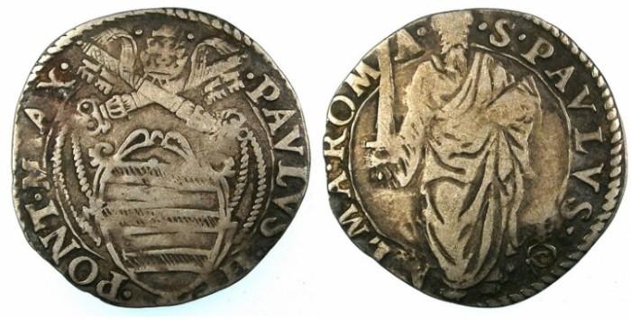 Ancient Coins - ITALY.VATICAN.Pope Paul IV ( Gianpetro Carafa ) 1555-1559.AR.Giulio.Rome mint