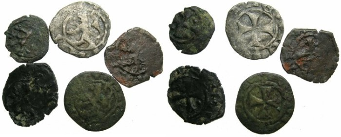 Ancient Coins - CRUSADER.CYPRUS.Peter II and James I Deniers (five coins ) ~~~All Ex John Slocum collection.