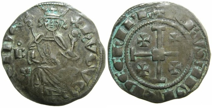 Ancient Coins - CRUSADER STATES.CYPRUS.Hugh IV AD 1324-1359.AR.Gros grand.~~~Sigla annulet above B, cross between feet of king.