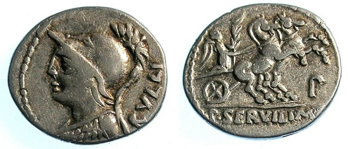 Ancient Coins - ROME.REPUBLIC.L.Servilius M.f.Rullus 100 BC.AR.Denarius.Minerva.