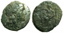 Ancient Coins - SICILY.SYRACUSE.Pyrrhos 278-276 BC.AE.~~~Head of Kore.~#~.Demeter enthroned.