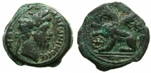 Ancient Coins - EGYPT.ALEXANDRIA.Marcus Aurelius AD 161-180.AE.Diobol, struck AD 179/180.****Extremely rare last date of rule.Reverse.Griffin****