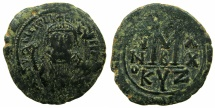 Ancient Coins - BYZANTINE EMPIRE.Maurice Tiberius AD 582-602.AE.Follis, struck AD 601/02.Mint of CYZICUS.****Final year of Maurice Tiberius' reign, Emperor holds mappa *****