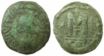 Ancient Coins - BYZANTINE EMPIRE.Justinian I AD 527-565.AE.Follis. Mint of CONSTANTINOPE.