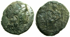 Ancient Coins - SICILY.SYRACUSE.Pyrrhos 278-276 BC.AE.~~~Head of Kore.~#~.Demeter enthroned.
