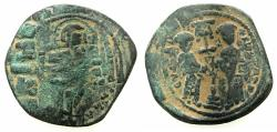 Ancient Coins - BYZANTINE EMPIRE.Constantine X Ducas AD 1059-1067.AE.Follis.Mint of CONSTANTINOPLE. Reverse.Constantine and Eudocia. overstrike on anonymous follis Class B