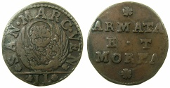 World Coins - ITALY.VENICE.Coinage for the armed forces and the Morea ( Peloponnese ).Anonymous.AE.Gazzetta.issued by decree 10th Feb and 19th April 1691.
