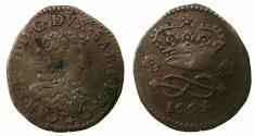 World Coins - ITALY.SAVOY.Carlo Emanuele II Duke 1648-1675.AE.2 Denari.1664. Mint of TURIN