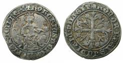 World Coins - ITALY.Kingdom of Naples.Robert The Wise AD 1309-1343.AR.Gigliato. Sigla.Lys in left field struck from 1321