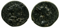 Ancient Coins - ARMENIA OR NORTH SYRIA.AE.Circa 1st cent BC. Diademed Zeus.~#~.Tyche.