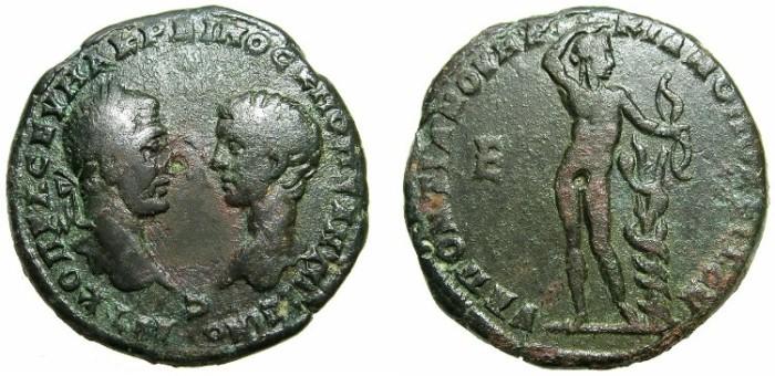 Ancient Coins - THRACE.MOESIA INFERIOR.MARCIANOPOLIS.Macrianus with Diadumenian Caesar AD 217-218.AE.5 Assaria.~#~Naked Apollo, snake coiled around stump.