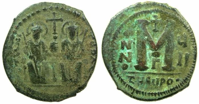 Ancient Coins - BYZANTINE EMPIRE.THEOUPOLIS-ANTIOCH.Justin II AD 565-578.AE.Follis,struck AD 571/572.