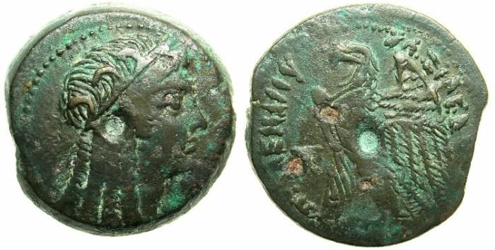 Ancient Coins - EGYPT.Ptolemaic Empire.Ptolemy VI 180-145 BC.AE.Tetrobol.~~~Isis.~#~Eagle.
