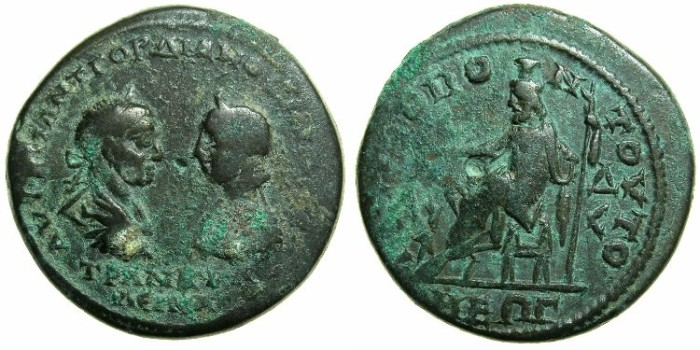 Ancient Coins - MOESIA INFERIOR.TOMIS.Gordian III and Tranquillina AD 238-244.AE.4 1/ 2 Assaria.~#~.Hades - Serapis enthroned, Cerberus in front.