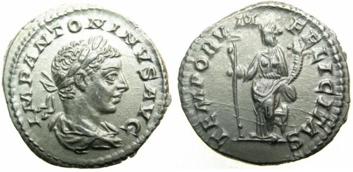 Ancient Coins - ROMAN.Elagabalus AD 218-222.AR.Denarius undated issue.~~~FELICITAS.