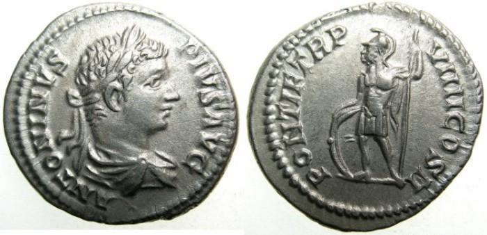 Ancient Coins - ROMAN.Caracalla Augustus AD 198-209.AR.Denarius AD 206.~~~Mars standing