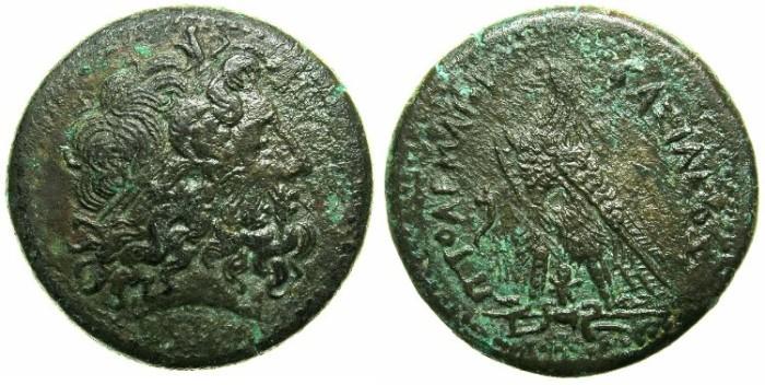 Ancient Coins - EGYPT.Ptolemy III Euergetes 246-221 BC.AE.25.Mint of ALEXANDRIA.~~~Zeus Ammon.~#~Eagle.