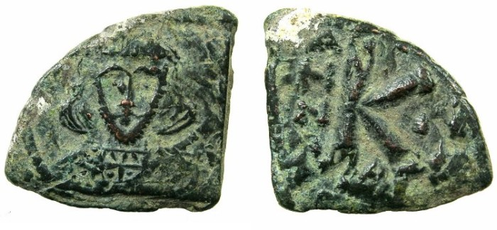 Ancient Coins - BYZANTINE EMPIRE.Tiberius III Apsimir AD 698-705.AE.Half Follis, struck AD 698/699.Mint of CONSTANTINOPLE. **** EXCEPTIONAL CONDITION FOR ISSUE ****