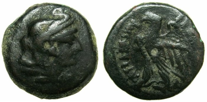 Ancient Coins - PTOLEMAIC EMPIRE:EGYPT.ALEXANDRIA.Ptolemy V Epiphanes 205-180 BC.AE.21.8mm.~~~Head of Alexander The Great wearing elephant scalp.