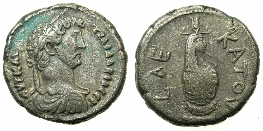 Ancient Coins - EGYPT.ALEXANDRIA.Hadrian AD 117-138.Billon Tetradrachm, struck AD 125/126.~#~.canopus of Osiris