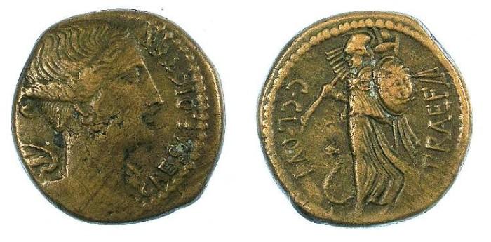 Ancient Coins - ROME.IMPERTORIAL.Julius Caesar 46-45BC.AE.Dupondius.Victory / Minerva.
