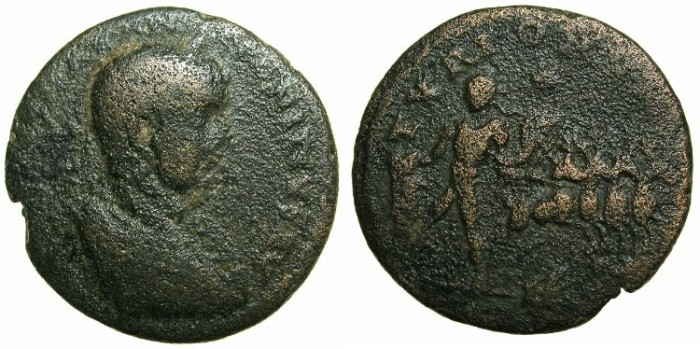 Ancient Coins - PHOENICIA.TYRR.Elagabalus AD 218-222.AE.27.5mm.~#~Nude male, stags.