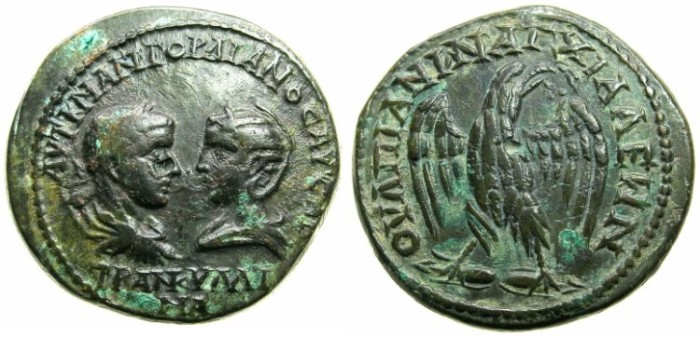 Ancient Coins - THRACE.ANCHIALIS.Gordian III and Tranquillina AD 241-244.AE.26.9mm.~#~. Eagle on thunderbolt.