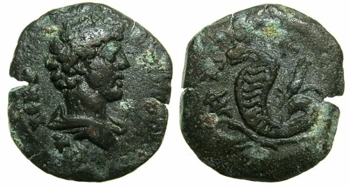 Ancient Coins - EGYPT.ALEXANDRIA.Marcus Aurelius, as Caesar AD 139-161.AE.Obol.Struck AD 151/52~#~Agathodaemon standing erect.