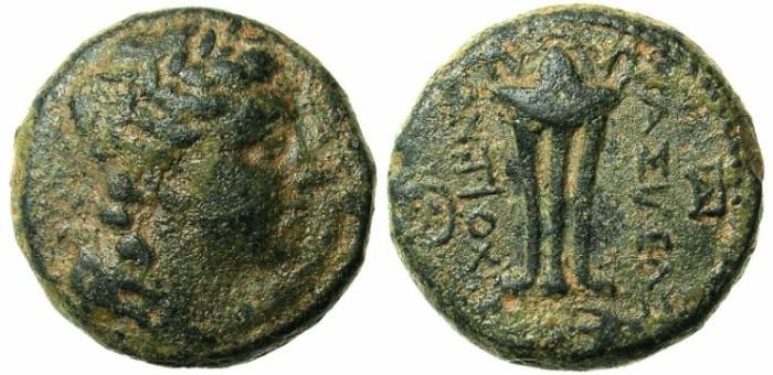 Ancient Coins - SELEUCID EMPIRE.SYRIA.ANTIOCH.Antiochus II 261-246 BC.AE.18.Apollo.Tripod.