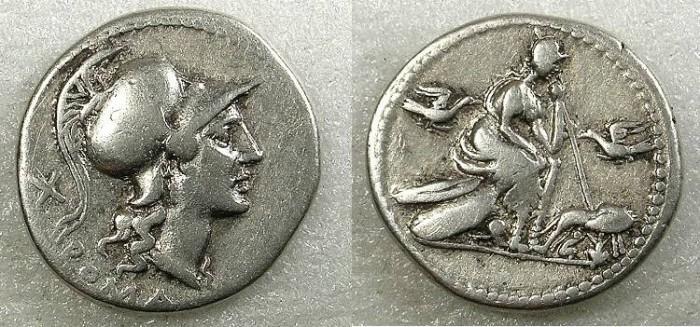 Ancient Coins - ROME Republic.Anonymous issue Circa 115 or 114BC AR.Denarius Rev.Roma seated.