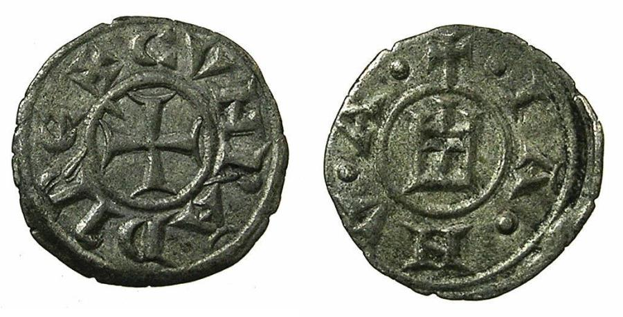 World Coins - ITALY.GENOA.13th cent AD.AR.Obol. ***Rare denomination***