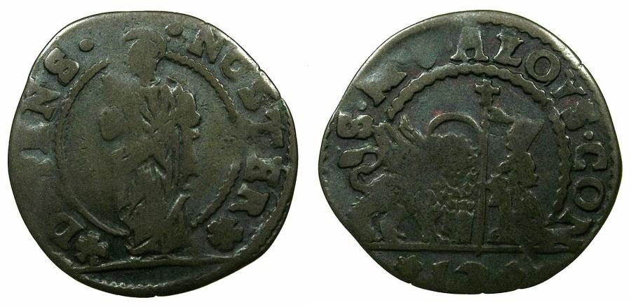 World Coins - ITALY.VENICE.Alvise Contarini 1676-1684.AE.Soldo