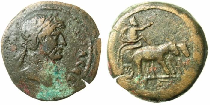 Ancient Coins - EGYPT.ALEXANDRIA.Hadrian AD 117-138.AE.Drachma Year 3 AD 118/119.Emperor in biga of Hippopotamai
