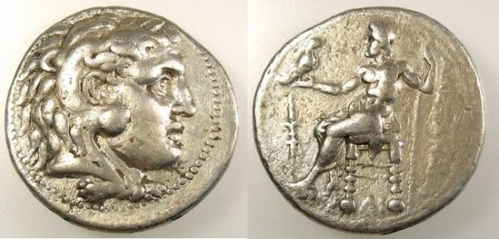 Ancient Coins - EGYPT.Memphis.Alexander III 336-323BC.AR.Tetradrachm.Rev.mint symbol thunderbolt