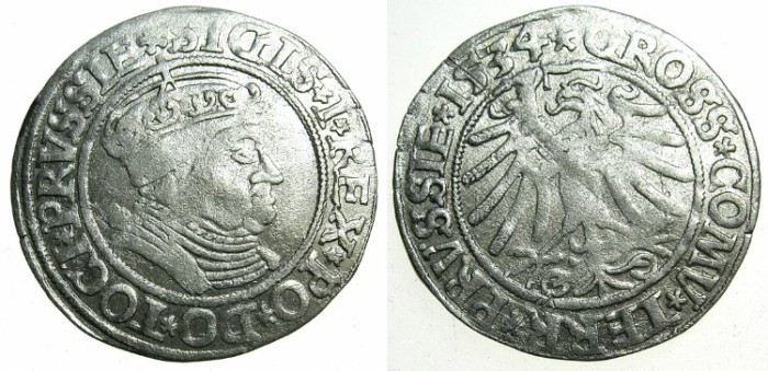 World Coins - POLAND.Sigismund I The Old AD 1506-1548.AR.Grosch 1534.Prussian mint.~~~attractive renaissance portrait.