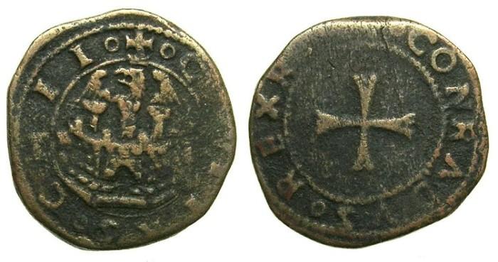 Ancient Coins - CRUSADER STATES.CHIOS under GENOA.The Mahona.Francesco di Lorenzo Giustianni Circa 1520.AE.Doppio Tornese.