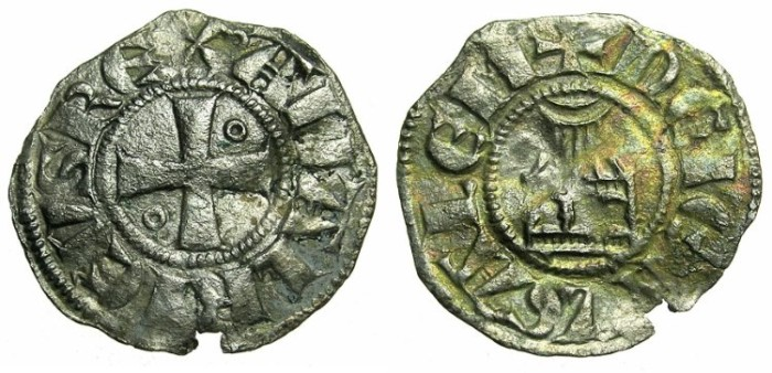 Ancient Coins - CRUSADER STATES.JERUSALEM.Amaury AD 1163-1174.Billon Denier.Class 8.~~~Double barred letter As
