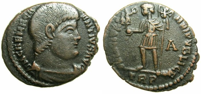 Ancient Coins - ROMAN.Magnentius AD 350-353.AE.Centenionalis.Mint of TRIER.~~~Emperor standing holding standard with Chi-Rho monogram on banner.