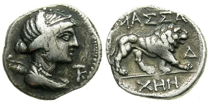 Ancient Coins - MASSALIA.Circa 200 BC.AR.Drachma.Artemis.lion