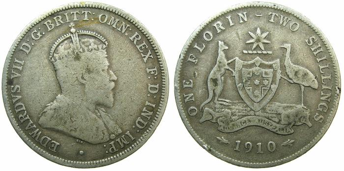 World Coins - AUSTRALIA.Edward VII.AR.Two shillings.1910. Scarce date.