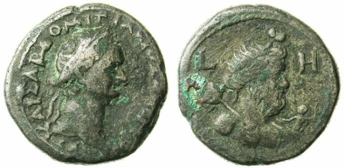 Ancient Coins - EGYPT.ALEXANDRIA.Domitian AD 81-96.Bi.Tetradrachm.AD 88-89.Bust of Nilus