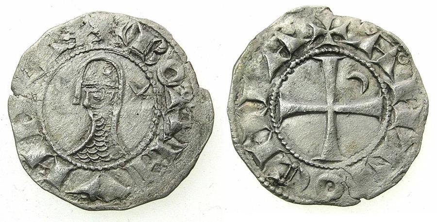 World Coins - CRUSADER STATES.Principality of ANTIOCH. Bohemond III or IV c.1149-1233 Bi.Denier. Class F.