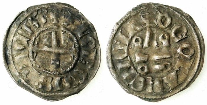 Ancient Coins - CRUSADER.ACHAIA.Florent of Hainault AD 1289-1297.Bi.Denier.Type F2