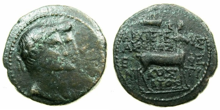 Ancient Coins - IONIA.EPHESUS.Augustus with Livia 27 BC-AD 14.AE.1 unit.~~~Jugate bust of Augustus and Livia.~#~.Stag, bow, naming magistrate ARCHIEREUS ASKLAS.