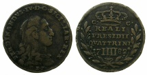 World Coins - ITALY.TUSCANY.ORBETELLO.Ferdinad IV King of Naples-Sicily 1759-1808.AE.4 Quattrini 1782