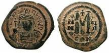 Ancient Coins - BYZANTINE EMPIRE.Maurice Tiberius AD 582-602.AE.Follis, struck AD 590/91. Mint of CONSTANTINOPLE.
