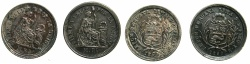 World Coins - PERU.Republic.AR.1/2 Real 1860  Y.B.****M.R. engraved over 5c with raised date.